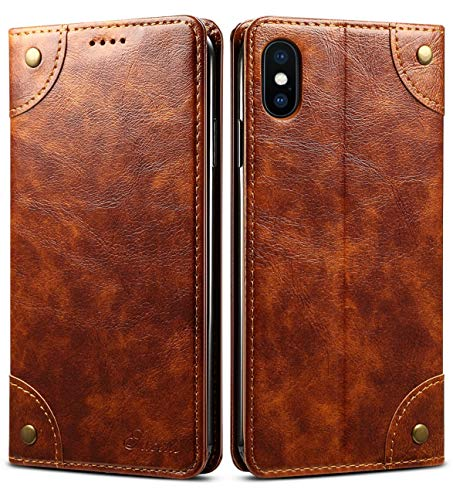 3fcd6b003e iPhone XS Case, iPhone X Case, SINIANL Leather Wallet Folio Case Book  Design Flip Cover with Stand and ID Credit Card Slot Magnetic Closure for iPhone  XS / ...