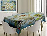 Unique Custom Cotton And Linen Blend Tablecloth Indian Ethnic Arabian Eastern Decor Ivy Swirls Flowers On Sky Blue Backdrop Artwork Print MuTablecovers For Rectangle Tables, Small Size 48 x 24 Inches