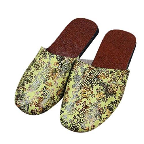 Suelo TELLW Amarillas Invierno Zapatillas hogar Zapatillas o de Retro par Verano y Antideslizante Primavera Madera Oto casa Europeo Mujeres rHwUqrBP
