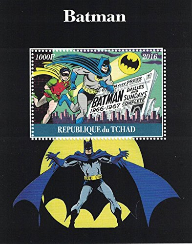 Stamps for collectors - perforfated stamp sheet featuring Batman / Comic Books / Batman and Robin / (Super Heroes Stamp Sheet)