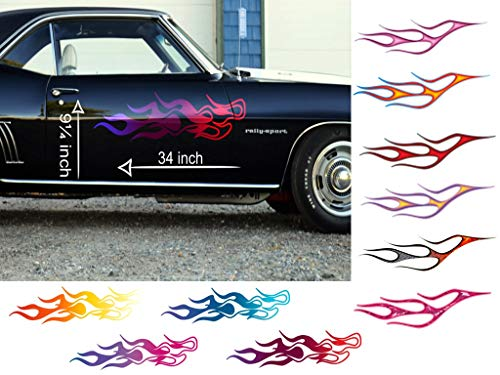 (Old School Flame Decals - 2 Piece Set - for Ford Chevy gmc Pontiac Trucks car Stickers Vinyl Graphics AMC ute (2 pc Chaser Flames Cherry Wine)