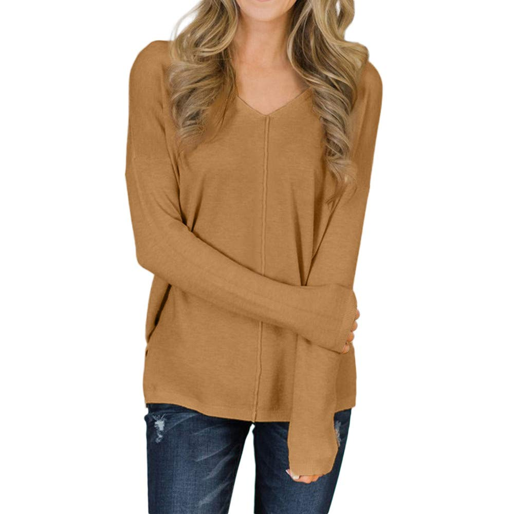 iLXHD Womens Causal Tops Long Sleeve V Neck Blouse Pullover Sweater Jumper