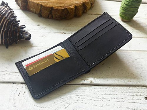 Amazon.com: Black wallet | mens wallet | Gift | without logo| father | boyfriend | card holder | Cartera hombre piel para tarjetas hecha a mano cuero: ...