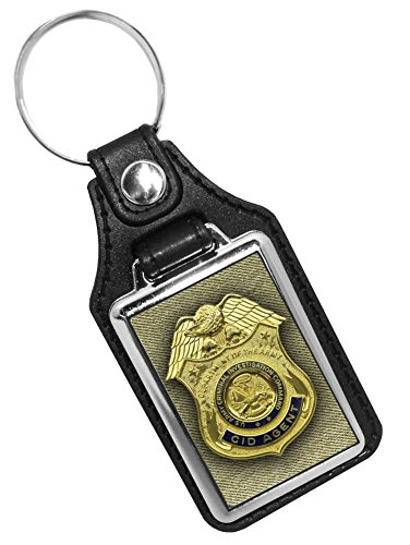 Faux Leather Key Tag With Army Badge CID - Army Leather Key Fob