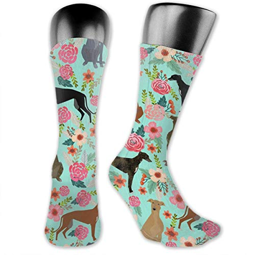 OFFWAYA 1 Pair Colorful Dress Socks, Greyhound Floral Cute Dog Mint, Unisex Christmas Soft Slipper Crew Socks Winter Cozy Socks ()