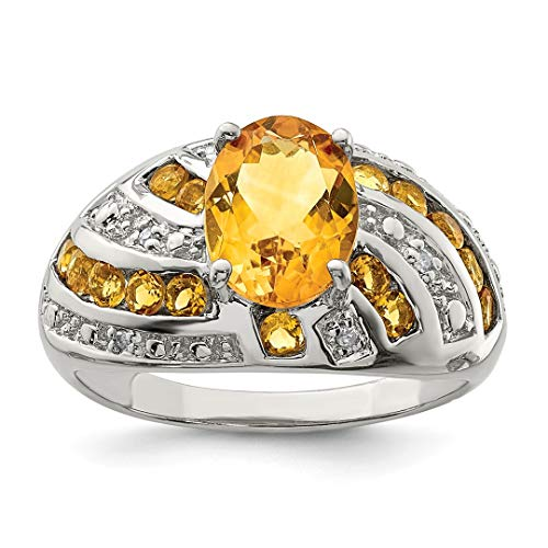 - 925 Sterling Silver Yellow Citrine Diamond Band Ring Size 9.00 Gemstone Fine Jewelry For Women Gift Set