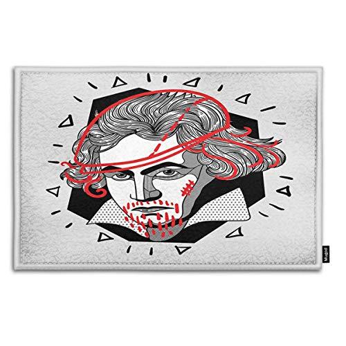 - Mugod Indoor/Outdoor Doormat Modern Portrait of Composer and Musician Ludwig Van Beethoven Funny Doormats Bathroom Kitchen Decor Area Rug Non Slip Entrance Door Floor Mats, 18