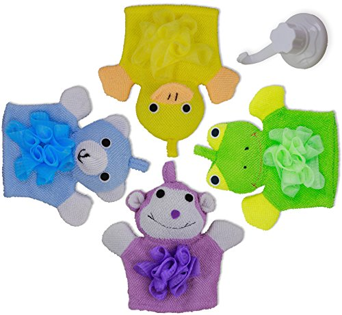 Bath Bear Wash Mitt (Kids Bath Mitt 4 Pack Toys with Hanging Hook - Loofah Chested Frog, Duck, Monkey, & Bear Make Bath Time Fun & Easy - Dry Quickly with Included Suction Mount Hanging Hook)