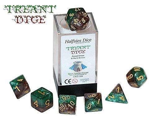 Treant Halfsies Dice - 7 die polyhedral rpg gaming dice set - Forest Green & Bark Brown by Gate Keeper Games
