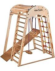 Rinagym klimdriehoek - indoor speelplaats van hout voor kinderen - klimnet, Zweedse ladder, ringen, glijbaan - bevordert de ontwikkeling - ideaal voor 1 tot 5 jaar - draaglast tot 60 kg