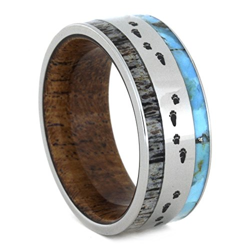 Antler, Turquoise, Mesquite Wood, Bear Tracks Engraving 9mm Comfort-Fit Titanium Band, Size 8 by The Men's Jewelry Store (Unisex Jewelry)