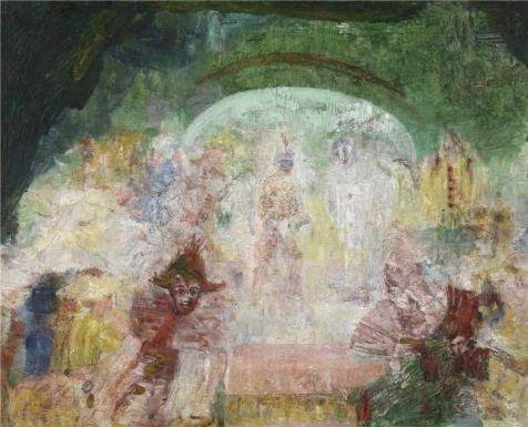 Oil Painting 'James Ensor - Masquerade' Printing On Perfect Effect Canvas , 24x30 Inch / 61x75 Cm ,the Best Kitchen Decoration And Home Decor And Gifts Is This Beautiful Art Decorative Prints On Canvas]()