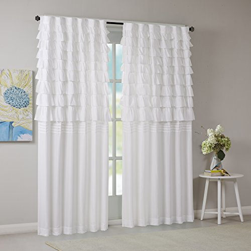 Intelligent Design White Curtains for Living Room, Casual Rod Pocket Ruffle Curtains for Bedroom, Waterfall Solid Back Tab Fabric Window Curtains, 50X84, 1-Panel Pack