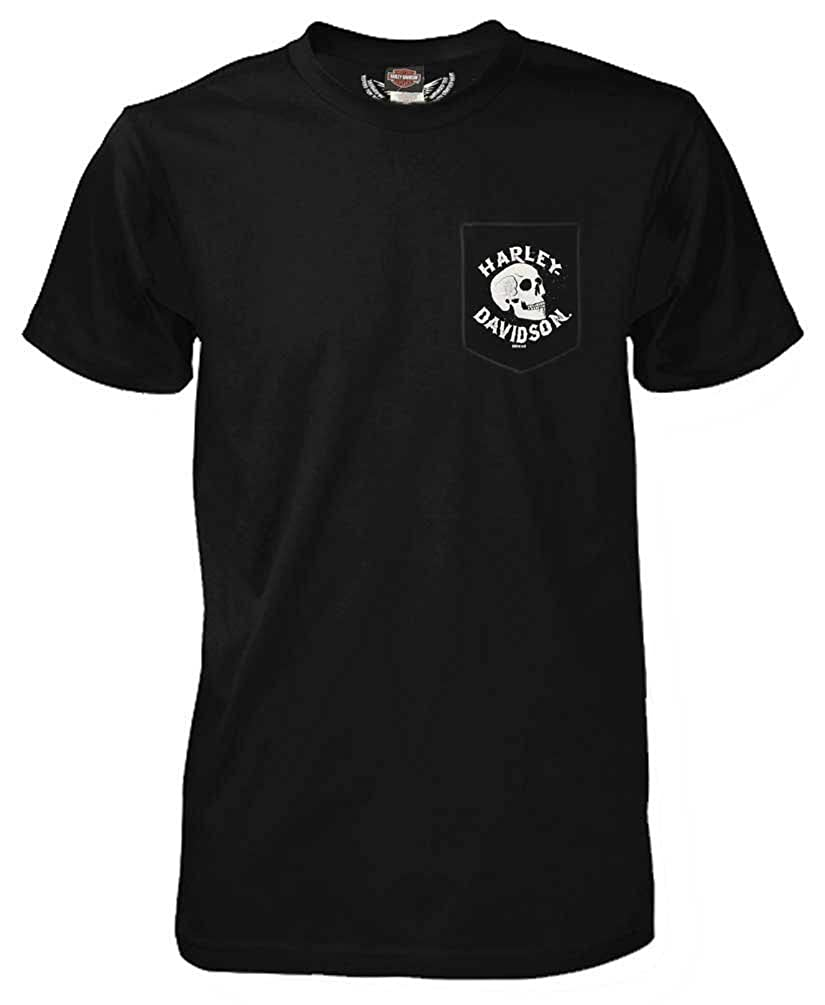 5ab9d812 Harley-Davidson Men\'s Demon Shifter Chest Pocket Short Sleeve T-Shirt  Decked out with a distressed skull graphic screen printed on chest pocket