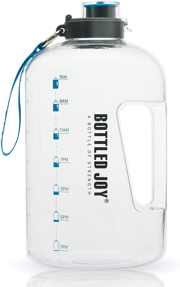 BOTTLED JOY 1 Gallon Water Bottle, BPA Free Large Water Bottle Hydration with Motivational Time Marker Reminder Leak-Proof Drinking Big Water Jug for Camping Sports Workouts and Outdoor Activity : Sports & Outdoors