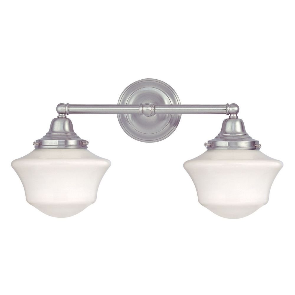 Schoolhouse Bathroom Light With Two Lights In Satin Nickel Vanity - Polished nickel bathroom light fixtures