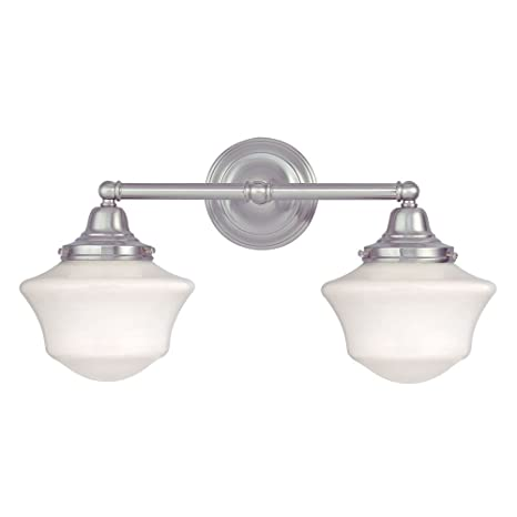 Schoolhouse bathroom light with two lights in satin nickel vanity schoolhouse bathroom light with two lights in satin nickel vanity lighting fixtures amazon aloadofball Gallery