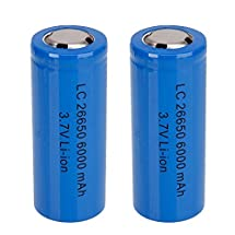 Mini Butterball Rechargeable 26650 Battery 2Pcs 3.7V 6000mah Protected Li-ion Blue Batteries for Flashlight Electric tools Electric bicycles Electric Vehicles
