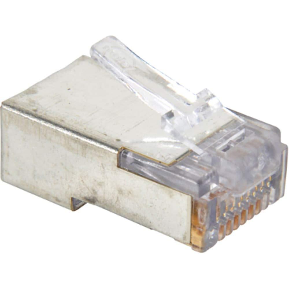 Plug; Modular; Straight; RJ45; 8 Pos; 8Cnts; Gold; w/o Strain Relief, Pack of 10