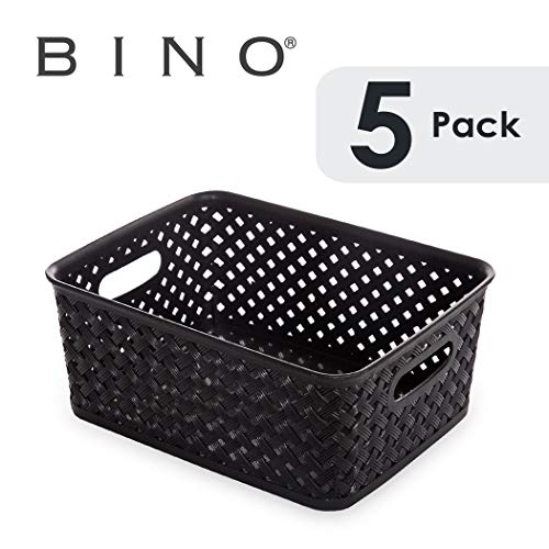 BINO Woven Plastic Storage Basket (5PK- S, Black) (Storage Basket Black)