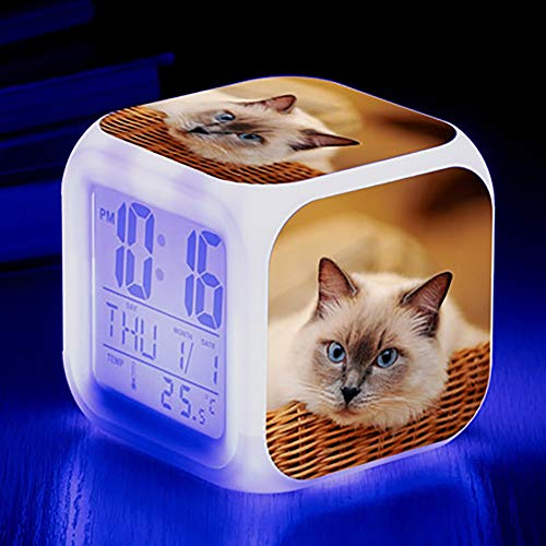 2020 Digital Alarm Clock, Colorful Lights Mood Alarm Clock Square Clock, Available USB Charging Suitable for Boys and Girls Dhildren