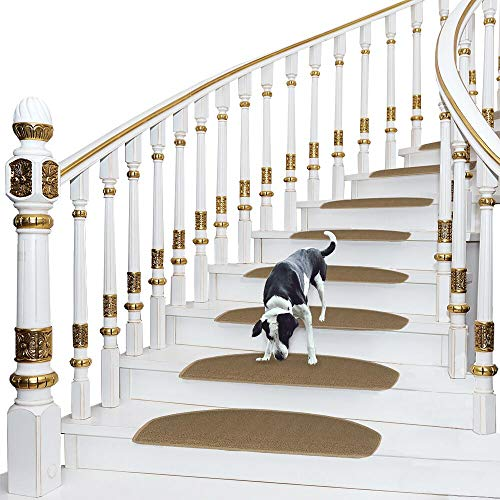 - Comme Rug Non-Slip Stair Treads Bullnose Carpet Stair Runners for Wooden Steps Indoor Durable Stair Mat Stair Rug Self Adhesive Stair Cover 9.5 Inch x 26Inch, Set of 13,Beige