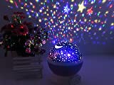 IREALIST 4 LED Night Lighting Lamp Romantic Rotating Star Projector Lamp for Christmas, Rotation Night Projection for Children Kids Bedroom (Purple)
