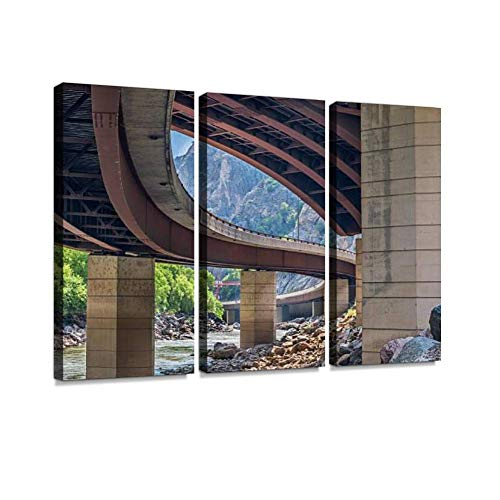 Highway in Glenwood Canyon Print On Canvas Wall Artwork Modern Photography Home Decor Unique Pattern Stretched and Framed 3 Piece