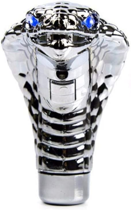 blu Manopola del cambio a forma di serpente con leva manuale universale per auto Testa di cristallo Cobra con luci a led per cambio automatico Car Styling