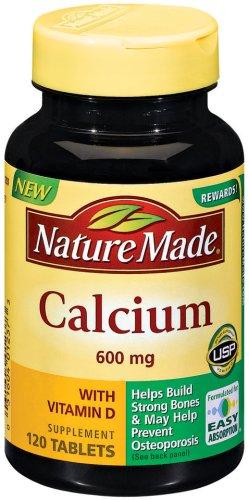 Nature Made 600mg de calcium avec vitamine D, 120 comprimés (pack de 3)