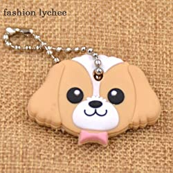 GoldLock fashion lychee Cute Lovely Animal Keychain Soft Rubber Pug Cat Dog Rabbit Key Cover Cap Key Ring Bag Charms Key Chain Toys (7)