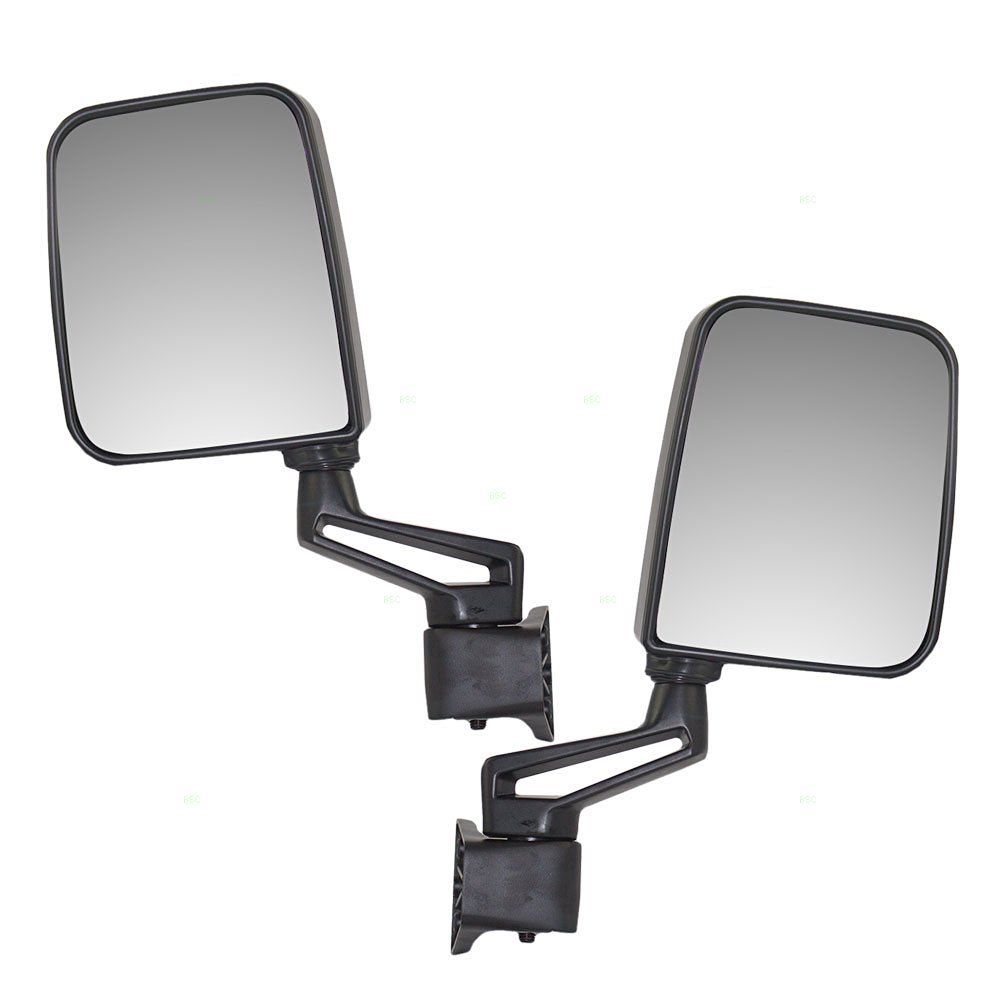 ECCPP Towing Mirror Texture Black Pair Side Mirror Replacement fit for 1987-2002 Jeep Wrangler with Manual Folding BHBU0503A1794 exclude 1996