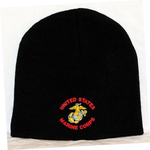 Usmc Skull Cap (United States Marine Corps Embroidered Skull Cap - Black)