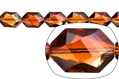 (crystal bead, center-drilled hexa-stairway, topaz AB2X coated, 13x19mm)