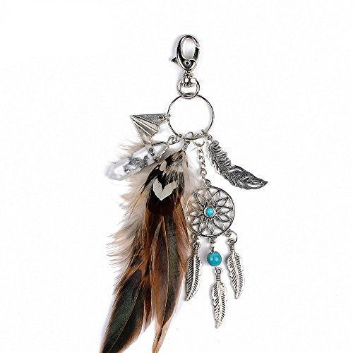 Dremisland keychain keyring natural opal stone dreamcatcher keyring fashion silver boho ornament feather keychainvv (Brown)