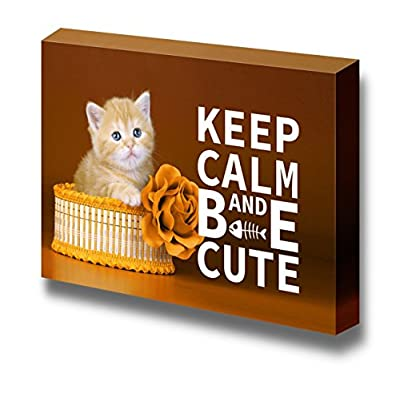 Created By a Professional Artist, Beautiful Technique, Keep Calm and Be Cute Wall Decor Stretched