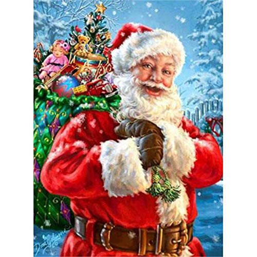 (5D Diamond Painting Kits for Adults, Kids. Home Decoration, Room, Office, Gift for Her Him Santa Claus with Presents on His Back 11.8x15.7in 1 Pack by)