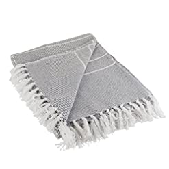 Bedroom DII Rustic Farmhouse Thin Stripe Woven Throw, 50×60, Gray farmhouse blankets and throws