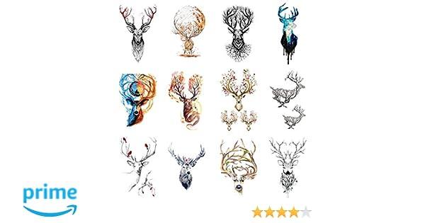 wyuen 12 pcs/lot ciervos temporal tatuaje Pegatina para las ...