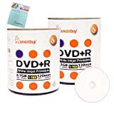 Smartbuy 200-disc 4.7GB/120min 16x DVD+R White Inkjet Hub Printable Blank Media Disc + Free Micro Fiber Cloth