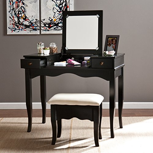 Southern Enterprises Francesca Vanity Ivory Cushioned Bench Set – Fold Down Mirror – Black Finish
