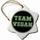 3dRose orn_151274_1 Team Vegan-Pro Veganism Fun-Green Text Retro Sporty College Sports Font on Black-Snowflake Ornament, 3-Inch, Porcelain