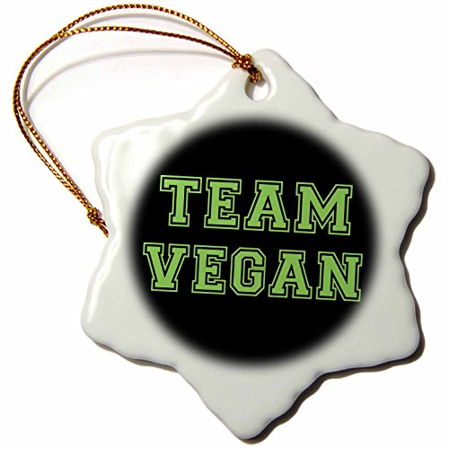 3dRose orn_151274_1 Team Vegan-Pro Veganism Fun-Green Text Retro Sporty College Sports Font on Black-Snowflake Ornament, 3-Inch, Porcelain by 3dRose (Image #1)