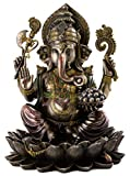 Top Collection Ganesh on Lotus Pedestal Statue - Ganesha Lord of Success and Destroyer of Evil Sculpture in Premium Cold Cast Bronze - 12-Inch Collectible Hindu Elephant Figurine