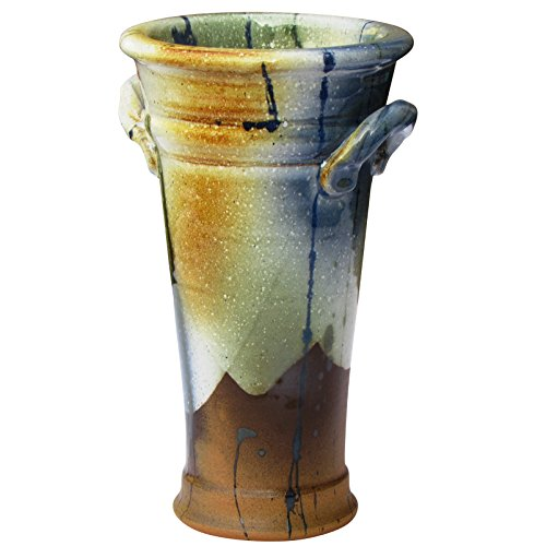 "Tall Pottery (Flower Vase with Handles. Decorative Handmade Irish Pottery Plant Holder 9"" Tall.)"