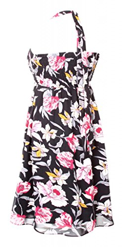 Dress Halterneck Floreale Black My Maniche Senza Evening Vestito Flowers Donna qn5TTBf6