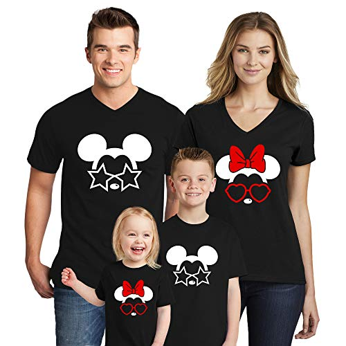 Natural Underwear Family Trip #1 Mickey Mouse Minnie Mouse with Sunglasses Summer Edition Family Vacation Glasses Stars Heart 2019 T-Shirts Matching Crew Neck T Shirts Black Kids-Boys 4T ()