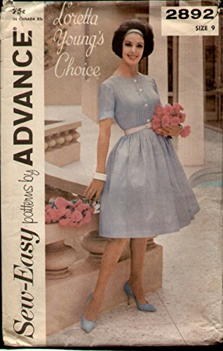 (Advance 2892 Vintage 1960s Loretta Young Pin Tucked Shirtwaist Dress Sewing Pattern B30)