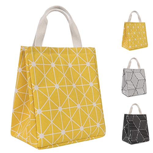 HOMESPON Reusable Lunch Bag Insulated Lunch Box Canvas Fabric with Aluminum Foil, Lunch Tote Handbag for Women,Men,School, Office (Rhombus Yellow)