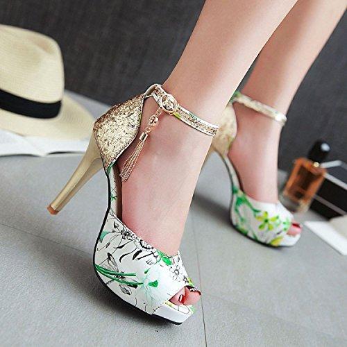 ZHZNVX Moda de verano nueva tendencia de lentejuelas decorativas de metal hebilla sandalias boca de pescado, negro, 45